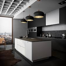 Monochromatic Kitchen Black And Inner Bronze Hanging Lights Black Glossy  Floor