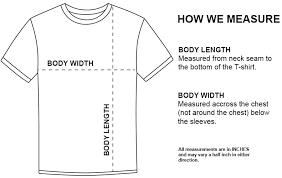 Regular Fit T Shirt Size Chart Curbside Clothing Size Chart