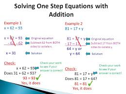 4 solving one step equations with addition example 1 x
