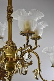 american victorian 8 arm brass gas electric chandelier