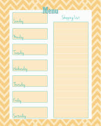 Weekly Menu week menu planner template