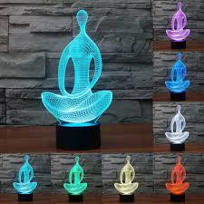 Led Lights All Colors Acrylic 7 Color Meditation Yoga 3d Led Light Of Bedroom Lamp