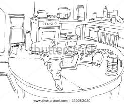 kitchen table clipart black and white. hand drawn black and white still life with cups teapot on round kitchen table vector clipart
