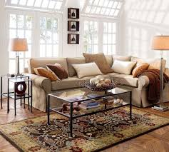 Interior:Pretty Minimalist Interior Design Trends With L Shape Beige  Leather Sofa And Floral Carpet