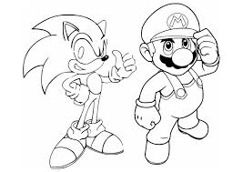 Mario Sonic Coloring Page Mario Bros Kids Coloring Pages
