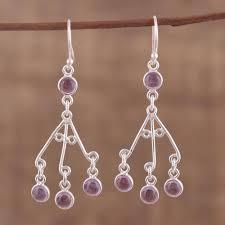 novica amethyst and peridot chandelier earrings bells