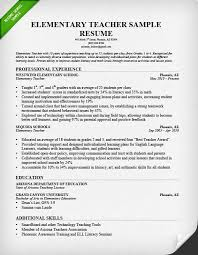Resume Of Teacher Sample Simple Elementary Teacher Resume Template Ateneuarenyencorg