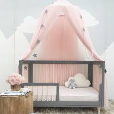 Baby Dome Bed Canopy Mesh Gauze Kids Bed Mosquito Net Decorative Baby Crib Curtain for Baby Cribs and Other Beds, Pink