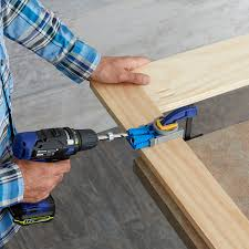 pocket jig lowes. drill a pocket hole for attaching the crossbar in frame. jig lowes