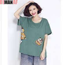 Plus Size Women T Shirt Kawaii Cat Pattern Print Summer Cotton
