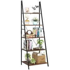Homfa Ladder Shelf 5 Tier Leaning Bookcase Industrial Bookshelf Storage Shelving Unit 60x503x1805cm