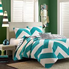 Queen Size Bed Using Chevron Teal Bedroom Cover Bed Set Also Green Wall  Color