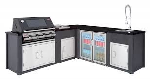 beefeater artisan outdoor kitchen corner layout with porcelain enamel gas bbq plus an outdoor fridge and