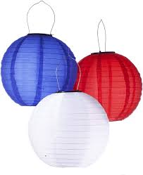 Red White Blue Solar Lights Pack Of 3 Solar Powered Waterproof Oriental Led Light Up Chinese Lanterns Red White Blue No Batteries Or Plug Needed