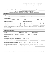 Generic Employment Application Form Free 10 Sample Generic Employment Application Forms Pdf