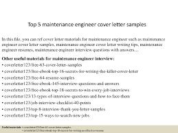 top5maintenanceengineercoverlettersamples 150619083224 lva1 app6892 thumbnail 4jpgcb1434702799 maintenance engineer cover letter