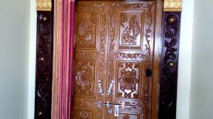 House Main Door Design With Flowers Typical Kerala Style Front Door For House Wooden Main