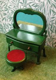 sylvanian families green dressing table with round stool