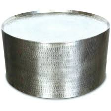 silver drum table round drum coffee table porter hammered metal industrial round coffee table throughout metal silver drum