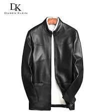 dusen klein men genuine leather jackets male slim designer brand sheepskin business casual leather coats long