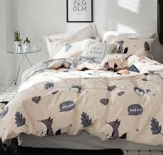 cartoon fox single double bedding set teen kid twin full queen king character bedclothes pillow case bedsheet quilt cover blue duvet cover king