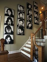a lot of black and white canvas photo collage series along the wall near the stairway on wall art picture collage with canvas collage ideas as wall art homesfeed