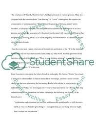 I Think Therefore I Am Essay Example Topics And Well Written