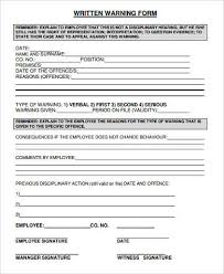 Form Written Warning Employee Template Sample Written Warning Forms