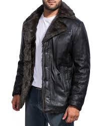 men s black fur jacket