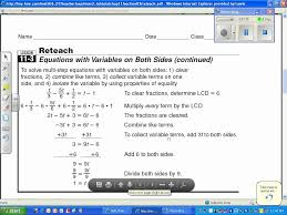 multi step equations with variables on both sides 11 3
