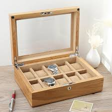 pure real wood exports american oak skylight watch box ten mechanical watch show collect receive travel cosmetic bag beauty case cosmetic brands kosmetik