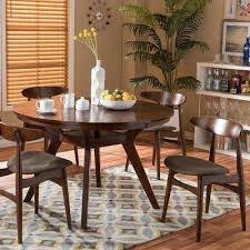 flamingo 5 piece dark brown fabric upholstered dining set