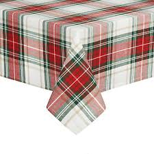 tablecloth 60 inches round farmhouse plaid cotton fabric red green