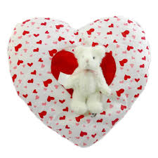 Boyds Bears Plush VALENTINE PILLOW W/BEAR Fabric Valentines Day Home Decor  New with hangtag. Home Collection. Retired. Heart-shaped, heart-print  pillow ...