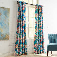 Teal Patterned Curtains Beauteous Ashford Floral Teal Grommet Curtain Curtains Patterned Curtains