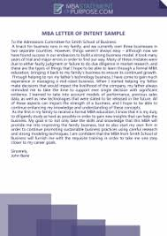 Letter To Intent Sample Mba Statement Of Intent Writing Tips Sample