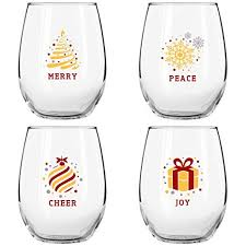 Awesome Christmas Stemless Wine Glasses (4 Piece Set)  Colorful, Cheerful Holiday  Party