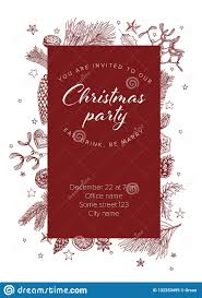 Template For Christmas Party Invitation Christmas Party Invitation Template Stock Vector Illustration Of