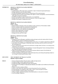 Regional Service Manager Resume Samples | Velvet Jobs