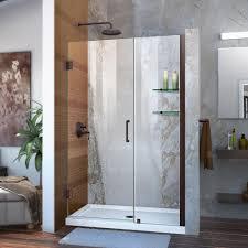 frameless hinged shower door in brushed nickel