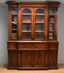 Large Regency Break Fronted Mahogany Antique Secretaire Library Bookcase.