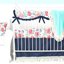 navy fringe tassel bedding garden c crib set with teal accents peach baby lane blue and pink toddler