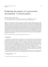 Pdf) Evaluating The Progress Of E-Government Development: A Critical ...