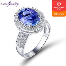 oval 9x12mm 18k white gold diamond aaa tanzanite enement ring good quality whole gemstone jewelry sr329a