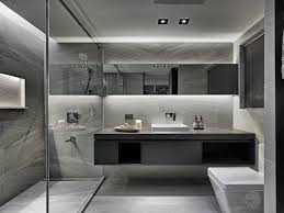 Bathroom Modern Floating Toilet And Vanity With Two Sinks And A Walk In Shower