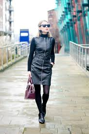 autumn winter outfit post black faux leather dress accessorised with john rocha watch to achieve