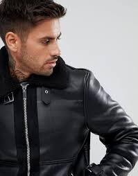 river island aviator jacket with faux fur lining in black men