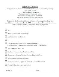 Training Packet Template New Hire Checklist Sample Army