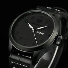 mens luxury sport watches infantry mens quartz wrist watch analog date day army sport black leather luxury