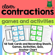 Contraction 48 Task Cards Games And Activities Anchor Chart Storage Pocket